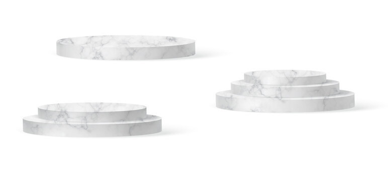 Marble cylinder podium scene, winner pedestal. White marble cylinder template for showroom podium scene. Vector white pedestal for product presentation.