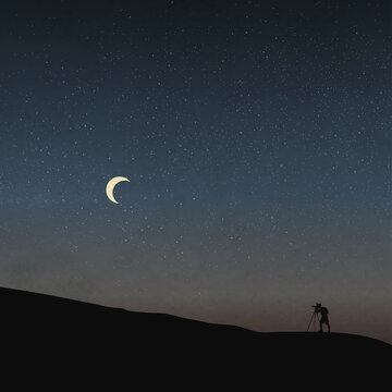 Silhouette of A Photographer, Starry Night