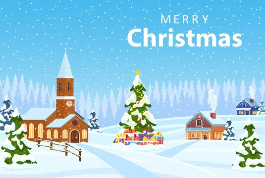 Suburban house covered snow. Building in holiday ornament. Christmas landscape tree spruce. Happy new year decoration. Merry christmas holiday. New year xmas celebration. Vector illustration