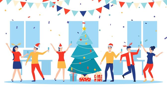 New year party in office. Business team celebrate. Vector illustration in flat style