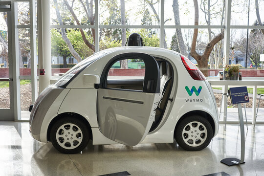 Mountain View, CA, USA - Feb 29, 2020: A Waymo self-driving car on display in the Computer History Museum in Mountain View, California. Smart mobility company Waymo is a subsidiary of Alphabet Inc.