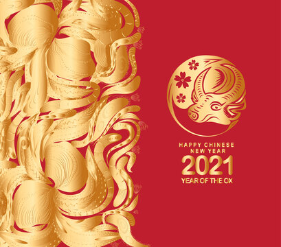 Happy chinese new year 2021 of the ox. Gold zodiac sign, Gold floral for greetings card, invitation, posters, brochure, calendar, flyers, banners