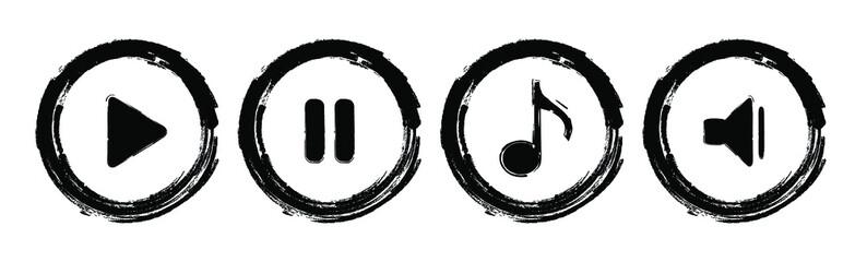 Fototapeta Grunge play music vector icon.