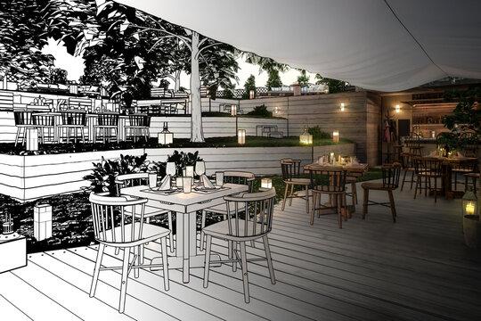 Inside Garden Pub & Restaurant (draft) - 3d visualization