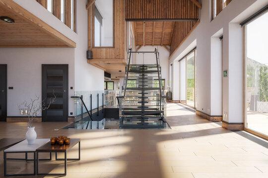 Contemporary Interior Design of a Villa -3d visualization