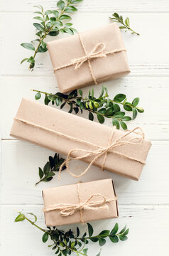 Modern Christmas wrapped presents with natural decor