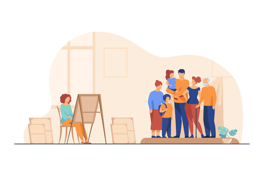 Artist painting family portrait. Picture, mother, children flat vector illustration. Art studio or workshop concept for banner, website design or landing web page