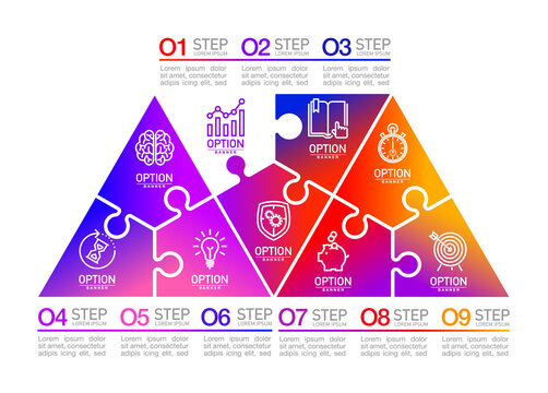 Nine pieces flat puzzle round infographic presentation. 9 steps circle business diagram. Nine sections compare service banner. 9 pieces jigsaw illustration template shape. Abstract puzzle Background.