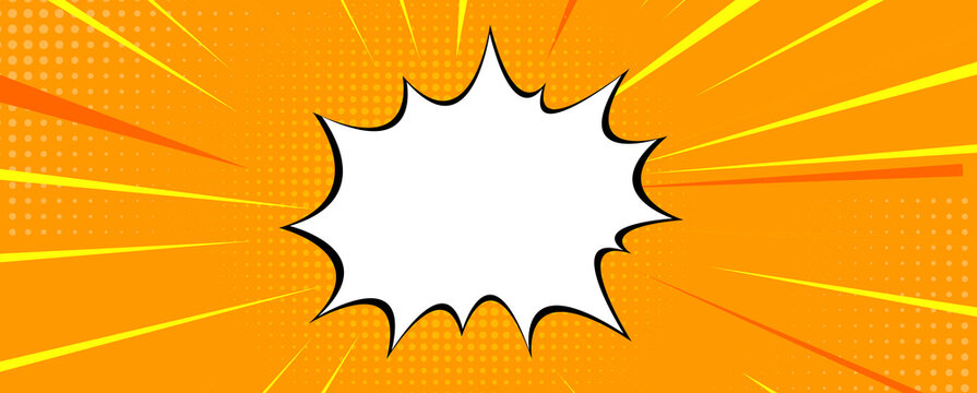 Pop art comic zoom background with lines, glow and speech bubble. Vector Illustration