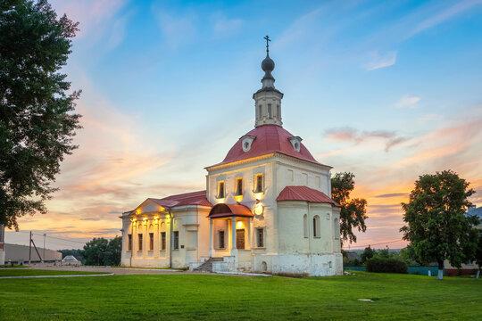 Kolomna, Russia. View of illuminated Resurrection Church on sunset