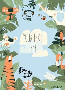 Cartoon Jungle Animals Frame with copy space