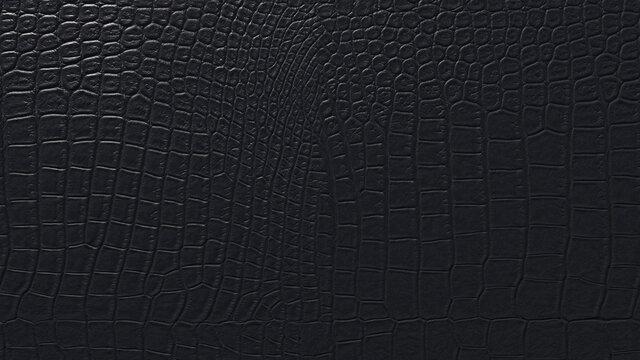 Black crocodile skin texture. Natural crocodile skin background close. 3D-rendering