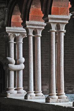 Abbazia di Chiaravalle della Colomba - colonnine del chiostro, Piacenza