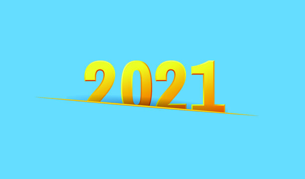 Happy New Year 2021 greeting card. Golden numbers 2021 in paper cut style. Vector EPS10