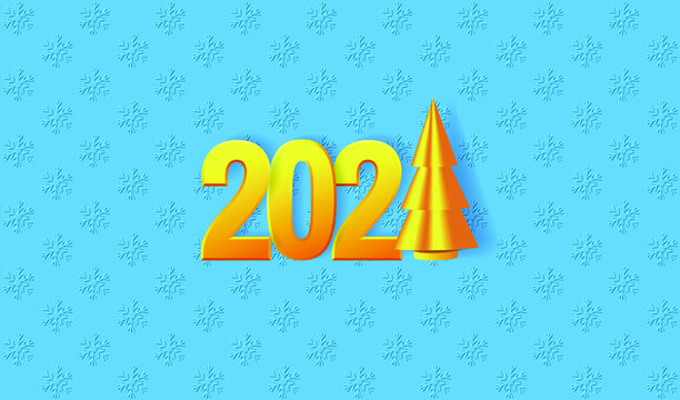 Happy New Year 2021 greeting card. Golden numbers 2021 in paper cut style and Christmas tree on the blue snowfall background