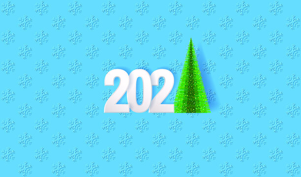 Happy New Year 2021 greeting card. Numbers 2021 in paper cut style and Christmas tree on the blue snowfall background