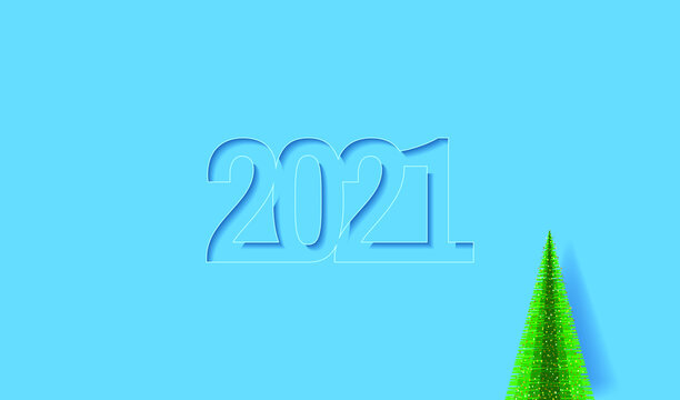 Happy New Year 2021 greeting card. Numbers 2021 in paper cut style and Christmas tree