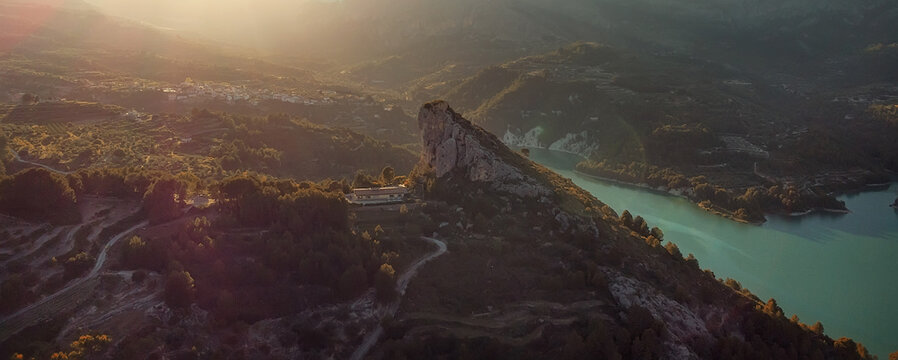 Aerial photography Guadalest Reservoir horizontal view. Spain