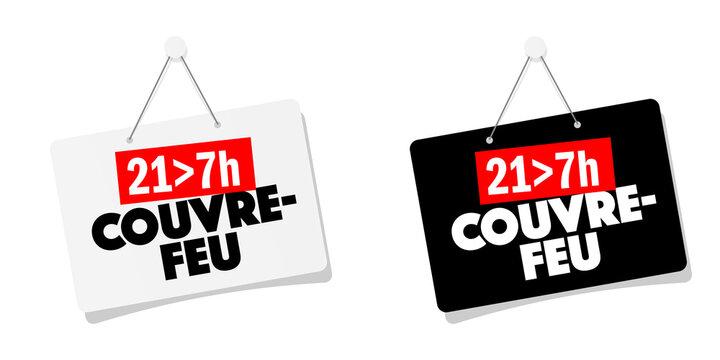Pancarte couvre-feu 21h-7h