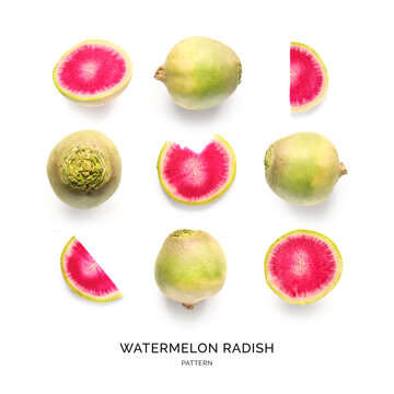 Seamless pattern with watermelon radish on the white background. Flat lay. Food concept.