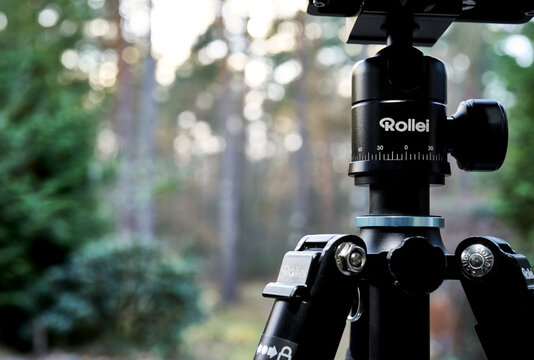 Rollei mini tripod with attached ball head, close-up in Gifhorn, Germany, November 23, 2020