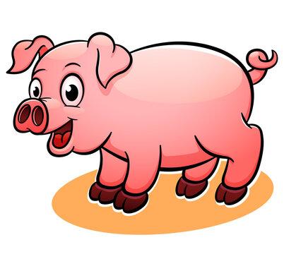 Vector happy pig cartoon illustration