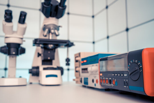 Measuring instruments in a modern physics research laboratory.