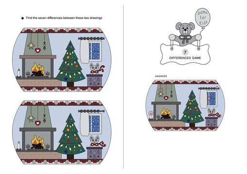 The game of seven differences. Game for kids.  Christmas theme. English Language.