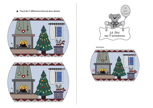 The game of seven differences. Game for kids.  Christmas theme. French Language.