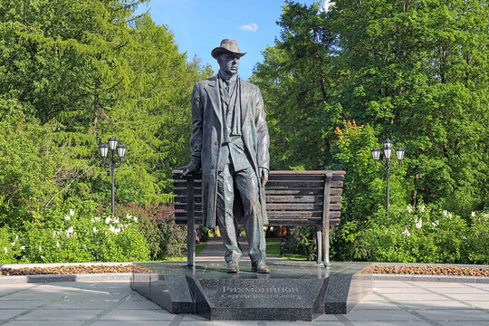 Monument to Sergei Rachmaninoff, a Russian composer, pianist and conductor, in the Kremlin Park of Veliky Novgorod, Russia