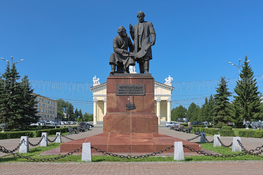 Nizhny Tagil, Russia. Monument to Yefim and Miron Cherepanov, the builders of the first Russian steam locomotive.
