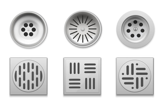Drainage set for bathroom, floor drain vector realistic