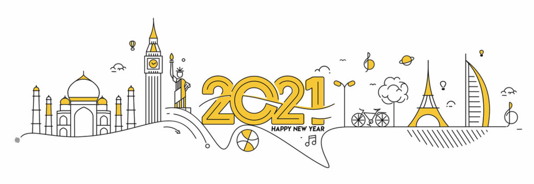 Happy New Year 2021 Text with travel world Design Patter, Vector illustration.