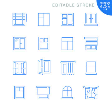 Window related icons. Editable stroke. Thin vector icon set