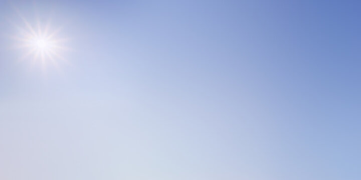 background of clear blue sky with sun