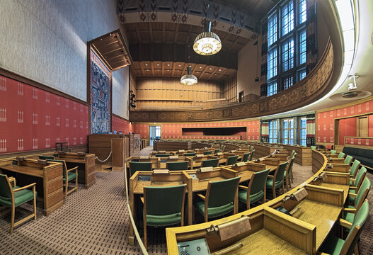 City Council Chamber in Oslo City Hall, Norway. This is an open political arena where the public can observe City Council meetings from the gallery.