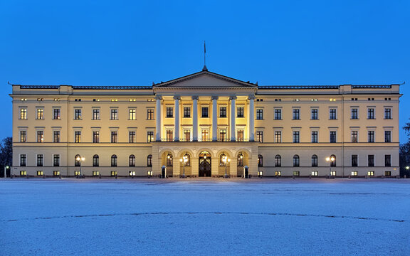 Royal Palace in Oslo in dusk, Norway