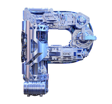 Capital letter P 3D logo. Cyber technological abstract texture alphabet font. Robot techno style ABC typeface mechanical symbol isolated. Hi tech metallic letter P typography text design illustration