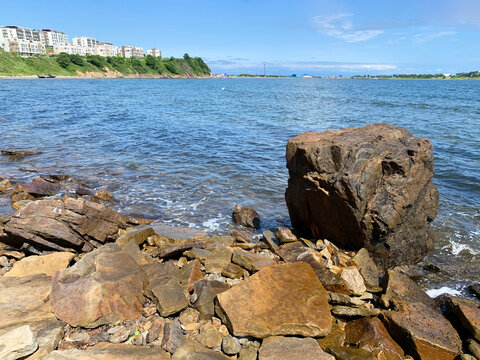 Large boulder on the shore of Patroclus Bay in summer. Russia, Vladivostok
