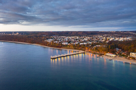 Beautiful landscape with wooden pier in Gdynia Orlowo before sunrise, Poland