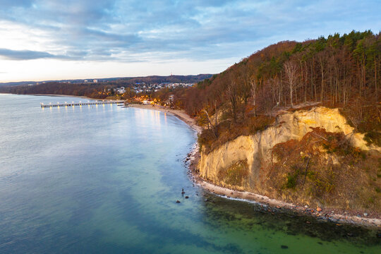 Amazing landscape of the beach at Orlowo cliff before sunrise, Gdynia. Poland