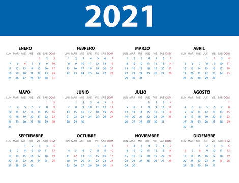 Calendario 2021 en español con los festivos de España