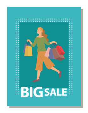 Smiling woman with shopping bags on postcard cover. Young beautiful happy girl picks up multi-colored packages with clothes. Female character on turquoise background. Big sale announcement in store