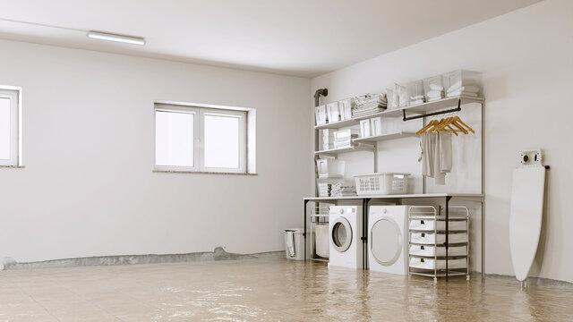 Überschwemmung nach Wasserschaden in Waschküche