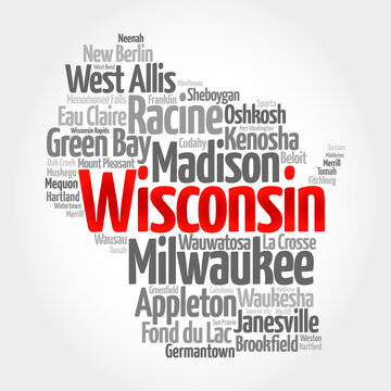 List of cities in Wisconsin USA state, map silhouette word cloud, map concept background
