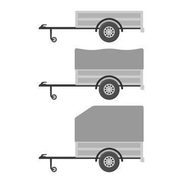 Set of cargo car trailers icons. Colored silhouette. Side view. Vector flat graphic illustration. The isolated object on a white background. Isolate.