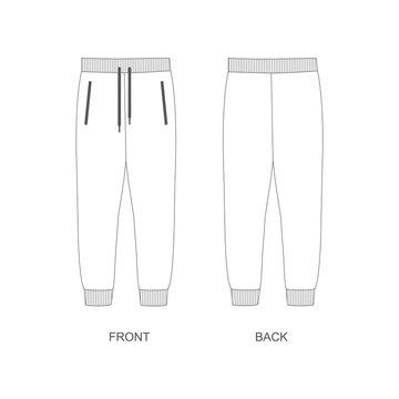 illustration of joggers pants, vector. Joggers sketch vector.