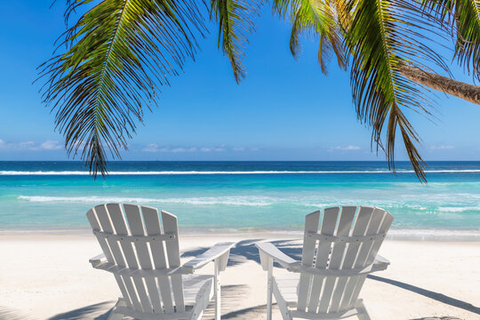 Paradise beach with white sand and beach chairs in shadow of coco palms. Summer vacation and tropical beach concept.