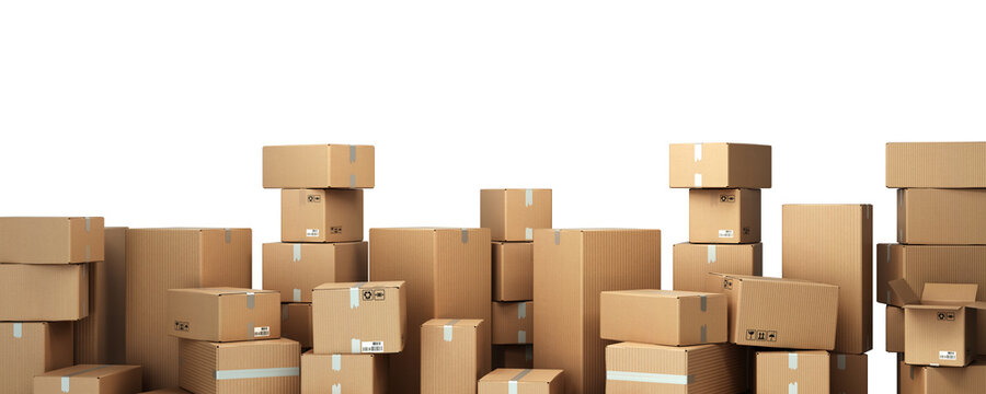 Cardboard boxes on pallet delivery and transportation logistics storage 3d render image on white