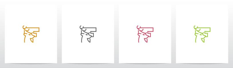 Deer Head On Letter Logo Design F